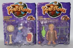 Lot Of 2 Mattel The Flintstones Figures Licking Dino &