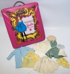 Vintage 1961 Barbie Doll Carring Case With 9-piece Lot