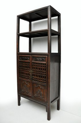 Tall Antique Elm Book Cabinet With Openwork Doors And
