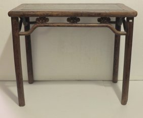 Antique Wine Table With Pudding Stone Top