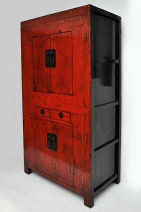 Antique Chinese Red Lacquer Cabinet From Shanxi