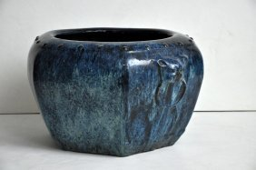 Yixing Large Blue Glazed Pot