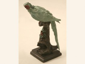 Early 20th C. Painted Bronze Parrot Statue