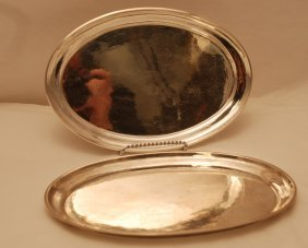 Pair Of Oval Hand Hammered Serving Tray #223 A