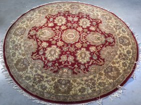 7 Ft Wool, Hand-knotted Round Mahal Design Rug