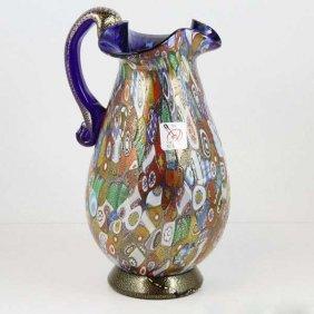 Murano Millefiori Gold Art Glass Pitcher / Carafe -
