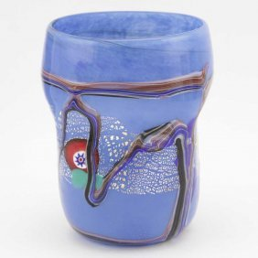 Modern Art Murano Glass Tumbler - Blue