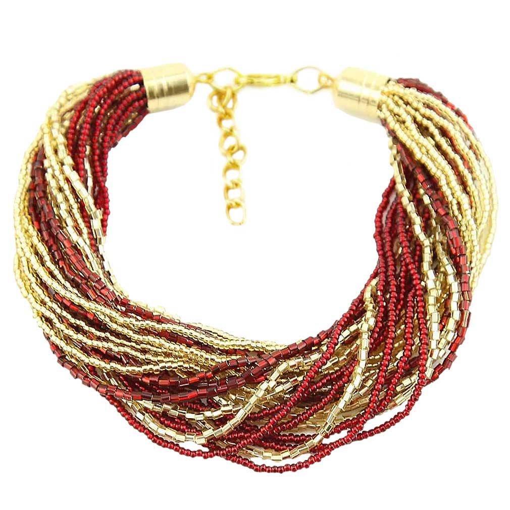 Gloriosa 24 Strand Seed Bead Murano Bracelet - Red and