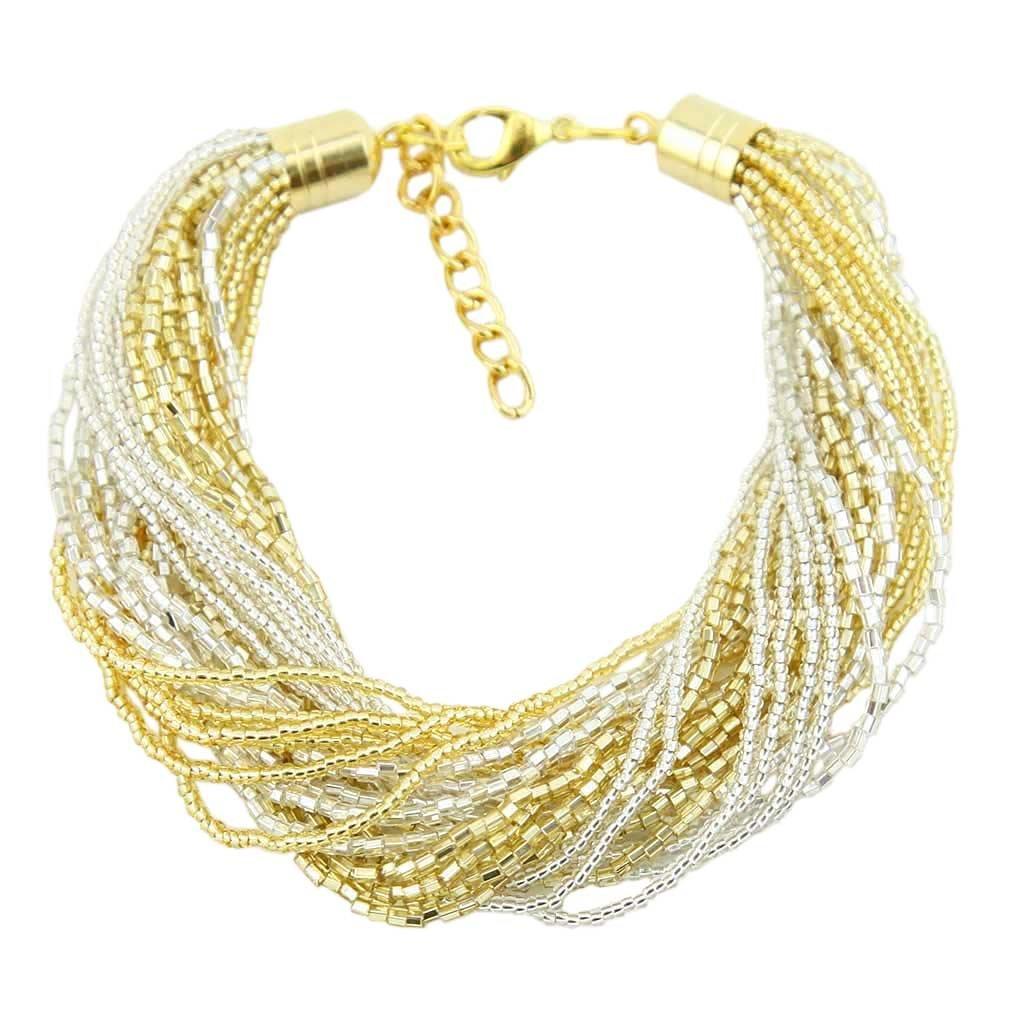 Gloriosa 24 Strand Seed Bead Murano Bracelet - Gold and