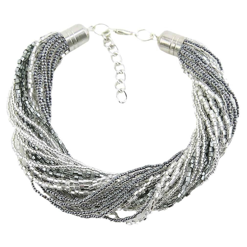 Gloriosa 24 Strand Seed Bead Murano Bracelet - Silver