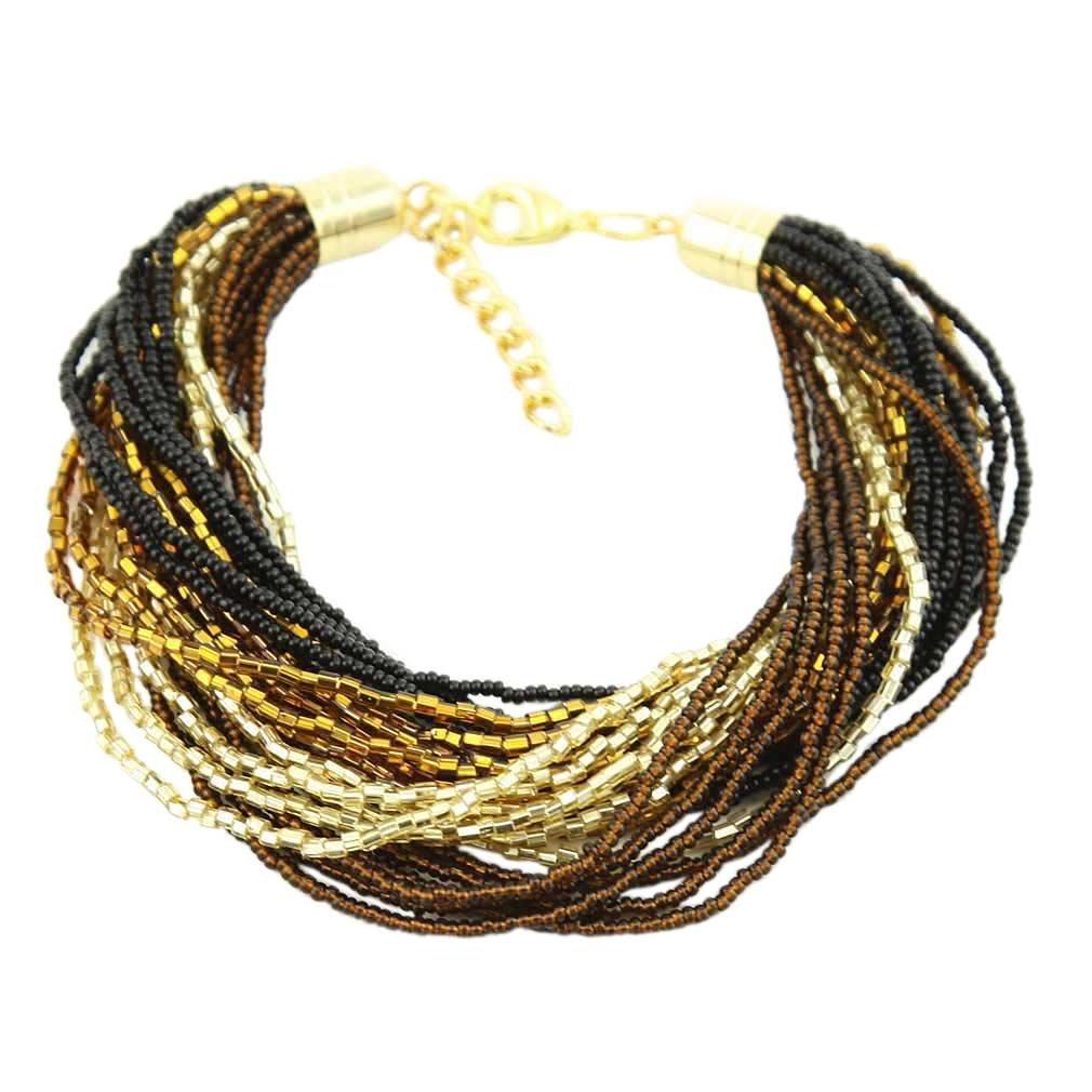Gloriosa 24 Strand Seed Bead Murano Bracelet - Topaz