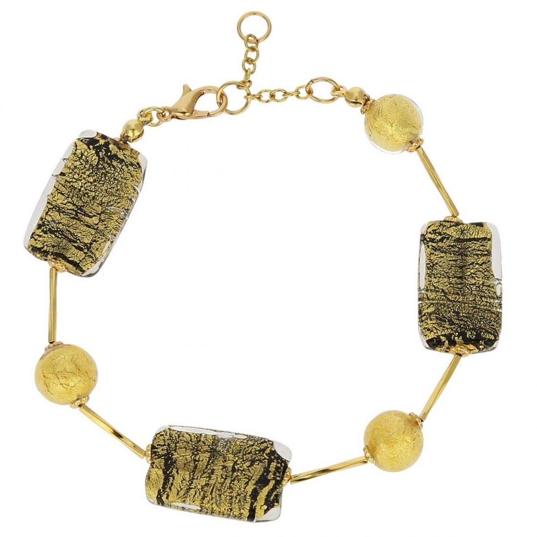 Vivaldi Murano Bracelet - Black and Gold