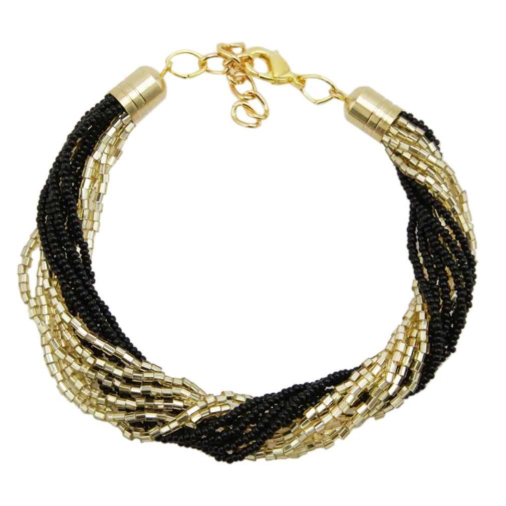 Gloriosa 12 Strand Seed Bead Murano Bracelet - Black