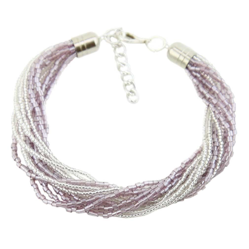 Gloriosa 12 Strand Seed Bead Murano Bracelet - Silver