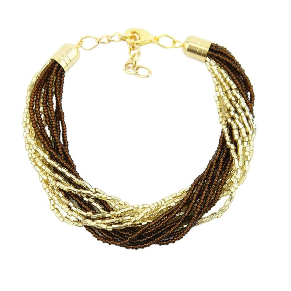 Gloriosa 12 Strand Seed Bead Murano Bracelet - Topaz
