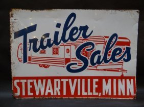 """trailer Sale – Stewartville Minn."" Metal Sign 1950s"