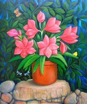 Pink Flowers Oil On Canvas