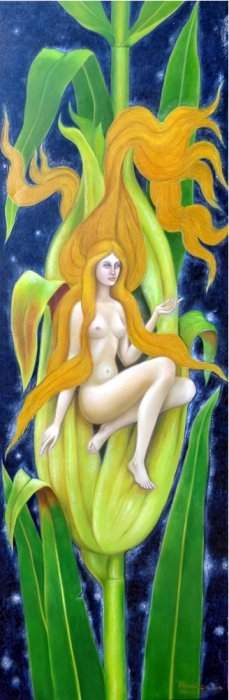 Elf Woman Of Corn - Oil On Canvas