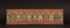 Manuscript Cover - 5 Buddhas