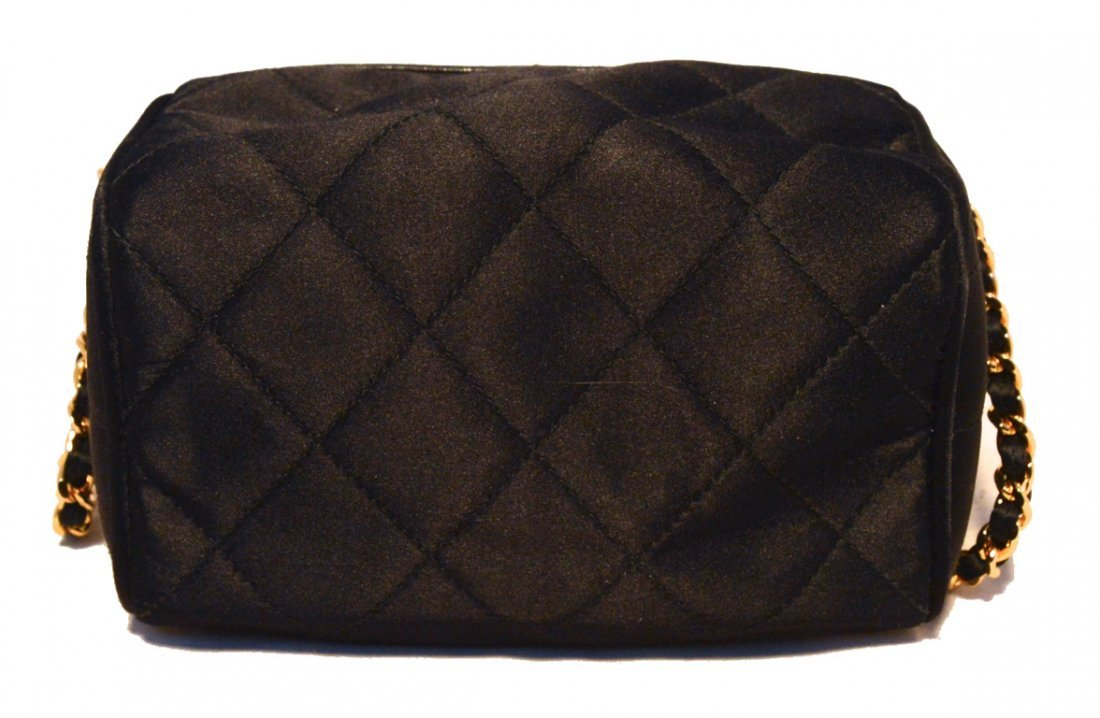 Chanel Vintage Black Quilted Satin Shoulder Bag - 2