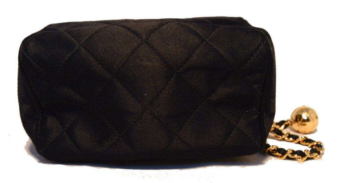 Chanel Vintage Black Quilted Satin Shoulder Bag - 4