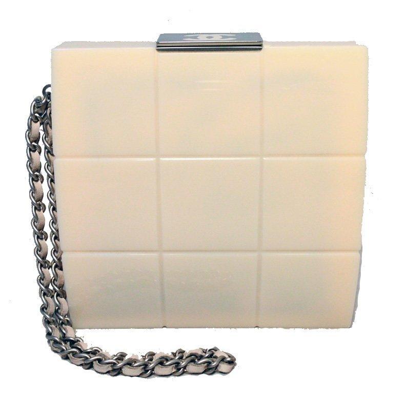RARE Chanel Cream Resin Box Clutch Wristlet