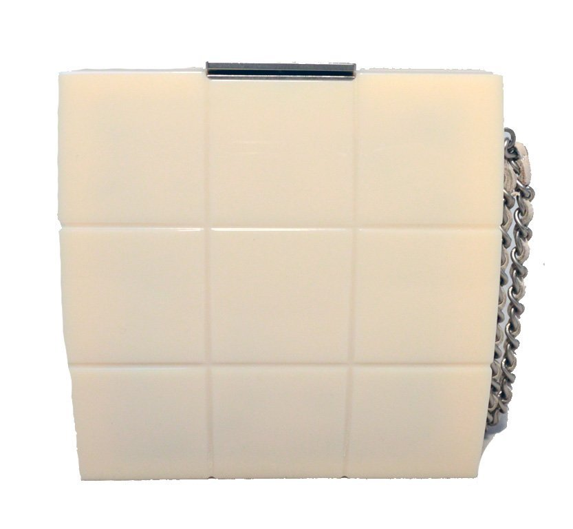 RARE Chanel Cream Resin Box Clutch Wristlet - 3