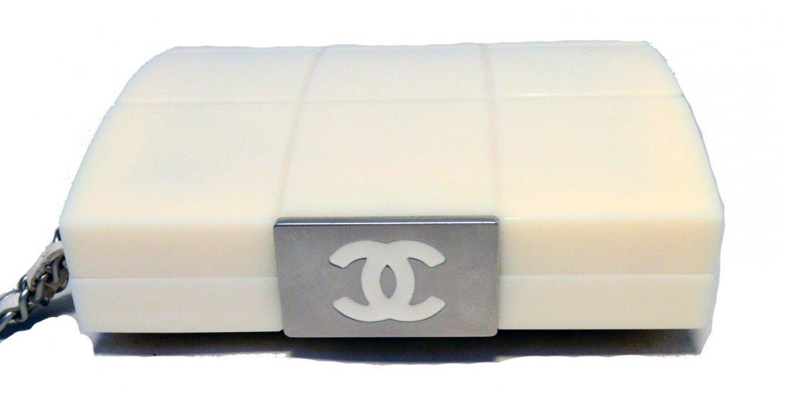 RARE Chanel Cream Resin Box Clutch Wristlet - 8