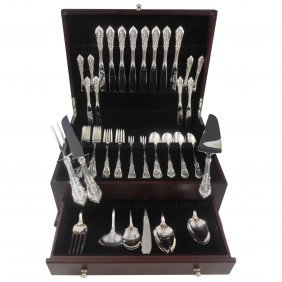 Rose Point By Wallace Sterling Silver Flatware Set For