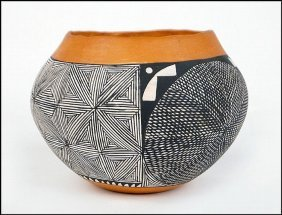Native American Acoma Pottery Jar Signed By I.w. Laguna