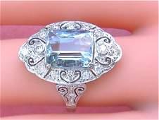 ART DECO 5ct AQUAMARINE .50ct DIAMOND PLATINUM RING