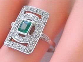 Estate Deco .75ct Diamond .30ct Emerald Platinum Ring