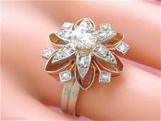 VINTAGE RETRO 1.4ctw DIAMOND PINK 18K STERLING FLOWER