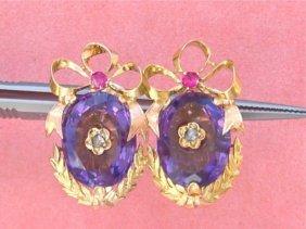 Vintage Victorian Style .03ctw Diamond Ruby 15ctw
