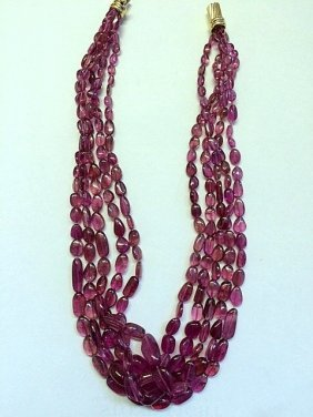 Natural Rubellite Tourmaline Nugget Necklace