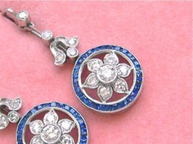 Art Deco Edwardian .92ctw Diamond .70ctw Sapphire