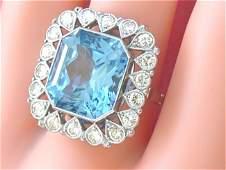ART DECO 1.2ctw DIAMOND 15ct AQUA BLUE TOPAZ PLATINUM