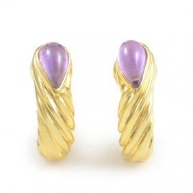 Gucci 18k Yellow Gold Amethyst Huggie Earrings