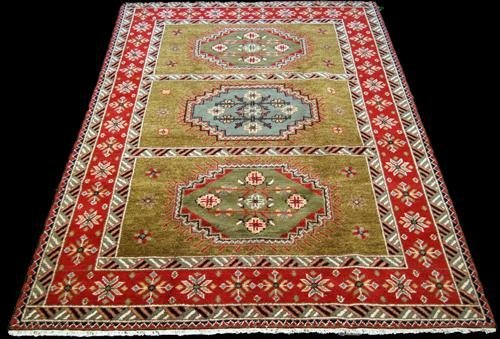 FINELY CONTRASTED HAND WOVEN KAZAKH DESIGN RUG, 6.8 X