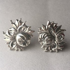 "Sterling Silver ""repousse"" Wild Dahlia Earrings By"