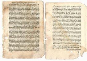 Lot Of Three 16th Century Hebrew Leaves