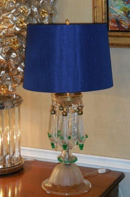 Very Unusual Antique Venetian Glass Table Lamp w Air