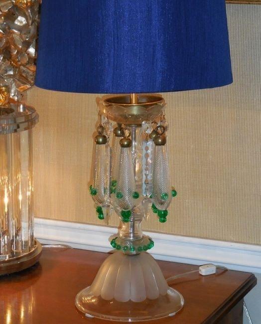 Very Unusual Antique Venetian Glass Table Lamp w Air - 2