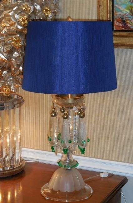 Very Unusual Antique Venetian Glass Table Lamp w Air - 4