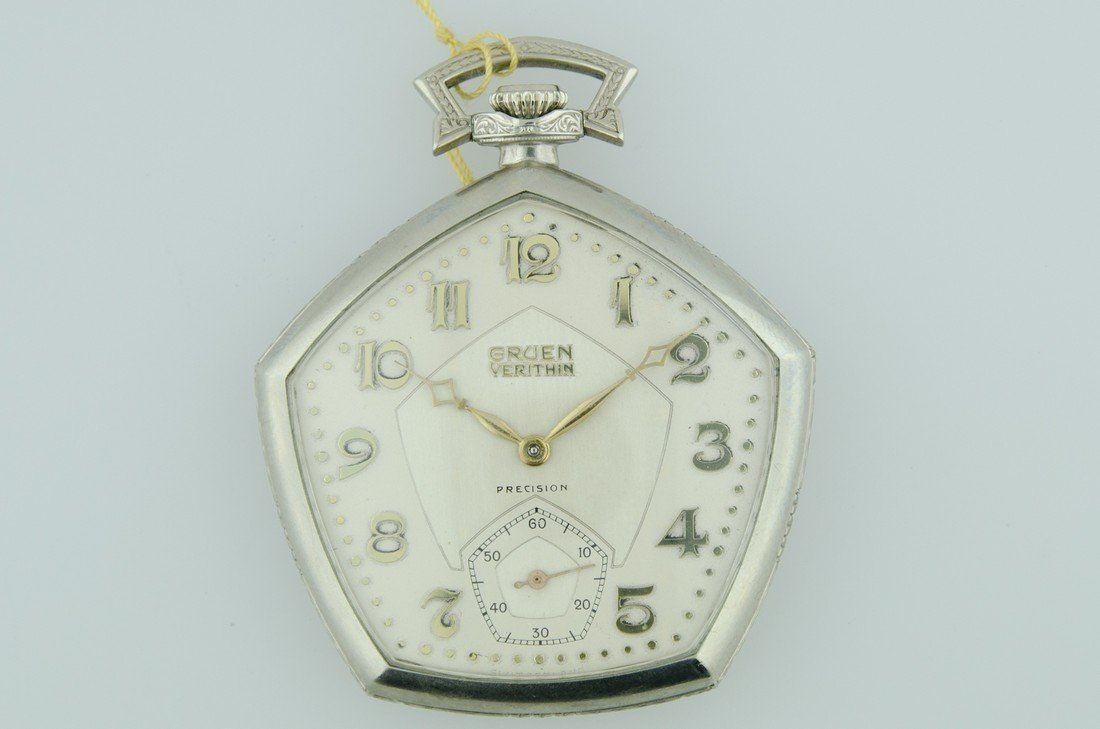 Gruen Pocketwatch 14k solid white gold, enamel case