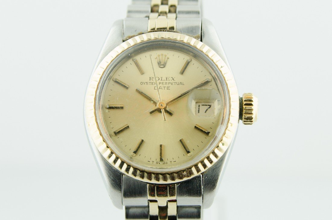 Ladies Rolex Date 18K Gold & Steel