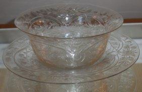 Antique Thomas Webb Cut Rock Crystal Bowl & Under Plate