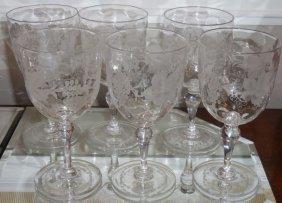 Set Of 6 Old Thomas Webb Crystal Wine Stems Grape &