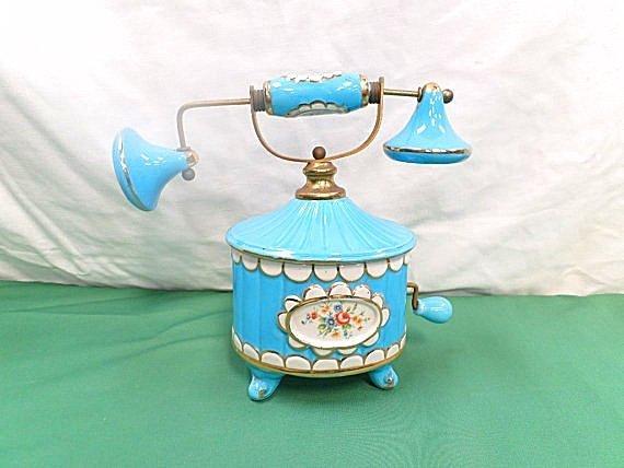 Antique Porcelain Telephone Candy / Trinket Box