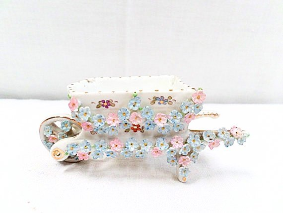Porcelain Floral Relief Mini Wheelbarrow